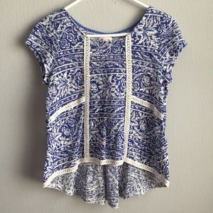 Anthropologie Meadow Rue lace printed high low tee